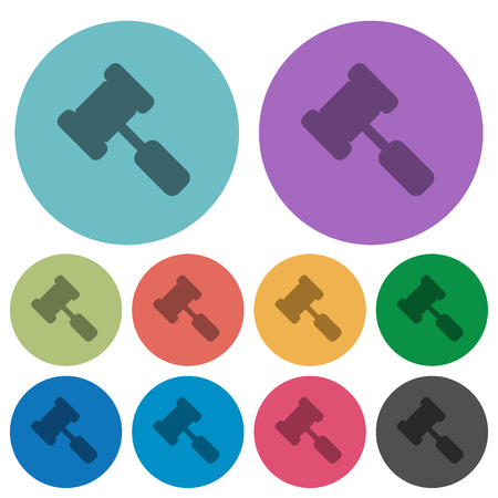 Judge hammer darker flat icons on color round background