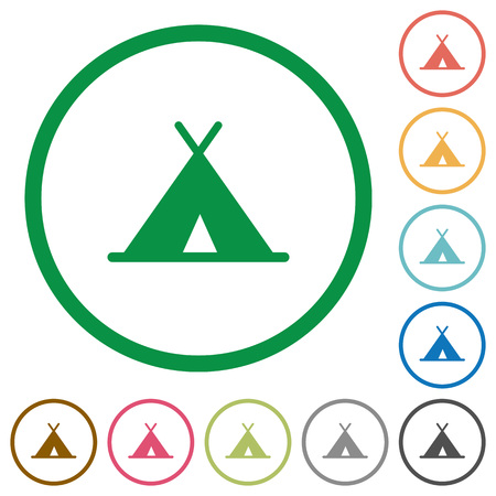 Tent flat color icons in round outlines on white background