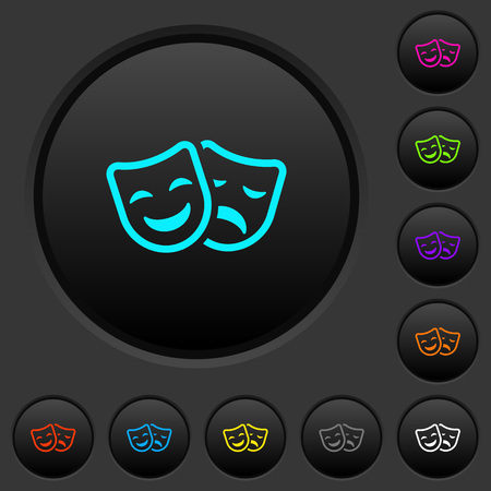 Comedy and tragedy theatrical masks dark push buttons with vivid color icons on dark grey background Illustration