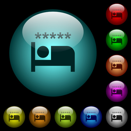 Luxury hotel icons in color illuminated spherical glass buttons on black background. Can be used to black or dark templates 스톡 콘텐츠 - 102880189