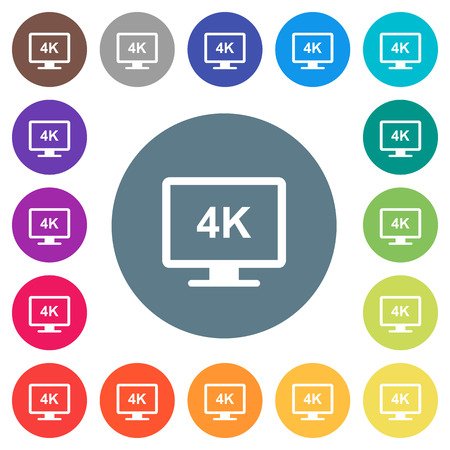 4K display flat white icons on round color backgrounds. 17 background color variations are included.