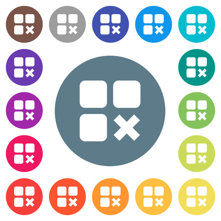 Component cancel flat white icons on round color backgrounds. 17 background color variations are included.