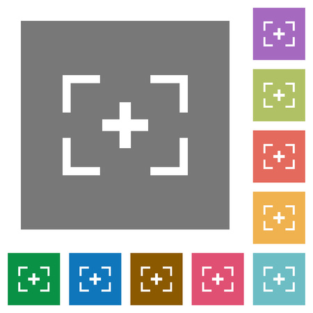 Camera crosshairs flat icons on simple color square backgrounds