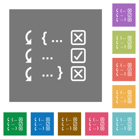 Debugging program flat icons on simple color square backgrounds Stock Illustratie