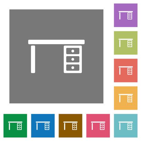 Drawer desk flat icons on simple color square backgrounds Illusztráció