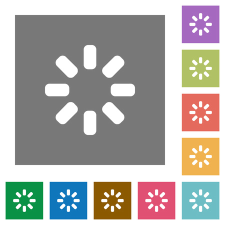 Loader symbol flat icons on simple color square backgrounds Vettoriali
