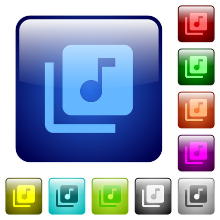 Music library icons in rounded square color glossy button set