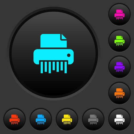 Office shredder dark push buttons with vivid color icons on dark grey background