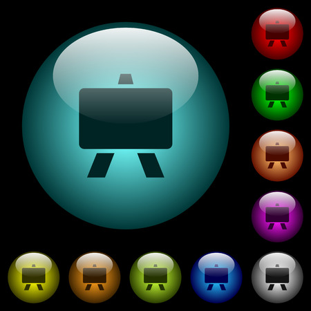 Blackboard icons in color illuminated spherical glass buttons on black background. Can be used to black or dark templates