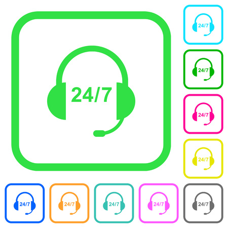 Call center vivid colored flat icons in curved borders on white background