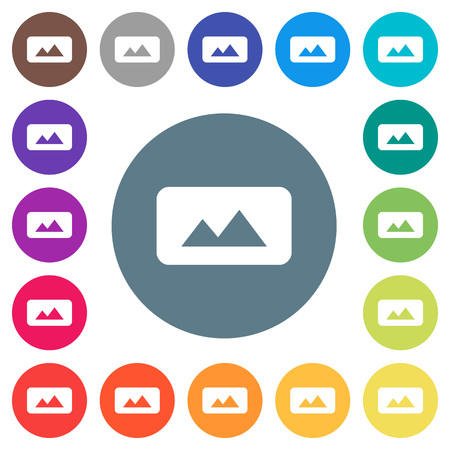Panorama picture flat white icons on round color backgrounds. 17 background color variations are included.