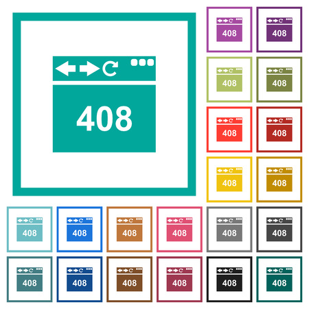 Browser 408 request timeout flat color icons with quadrant frames on white background