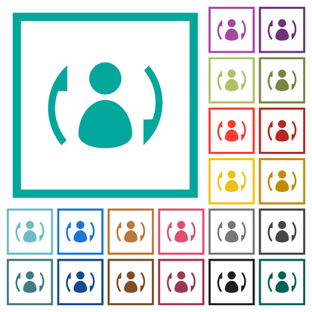 Syncronize contacts flat color icons with quadrant frames on white background