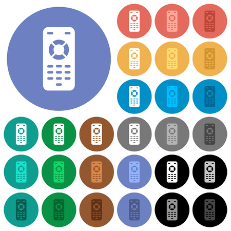 Remote control multi colored flat icons on round backgrounds. Included white, light and dark icon variations for hover and active status effects, and bonus shades on black backgounds. Illustration