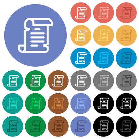 Paper scroll multi colored flat icons on round backgrounds. Included white, light and dark icon variations for hover and active status effects, and bonus shades on black backgounds.