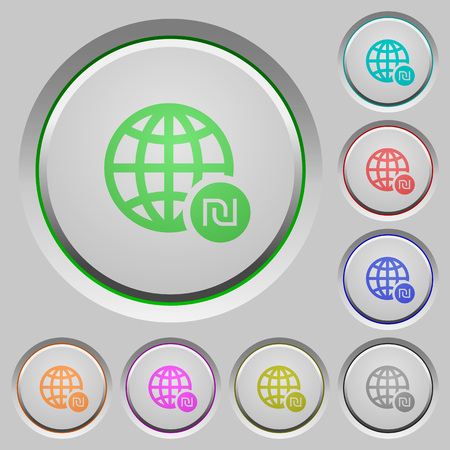 Online Shekel payment color icons on sunk push buttons 向量圖像