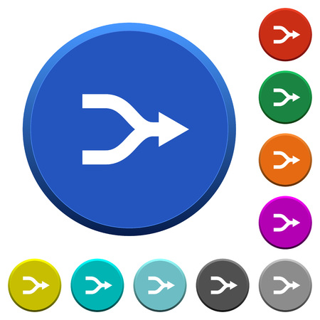 Merge arrows round color beveled buttons with smooth surfaces and flat white icons Illustration