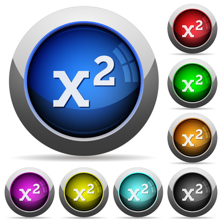 Math exponentiation icons in round glossy buttons with steel frames Vector Illustration
