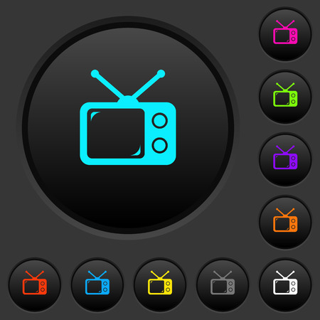 Vintage retro television dark push buttons with vivid color icons on dark grey background Illustration