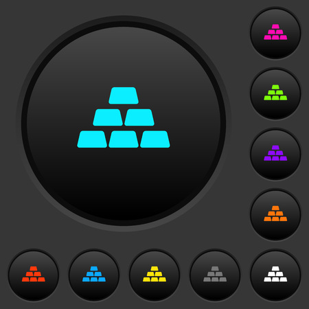 Stack of gold bars dark push buttons with vivid color icons on dark grey background Иллюстрация