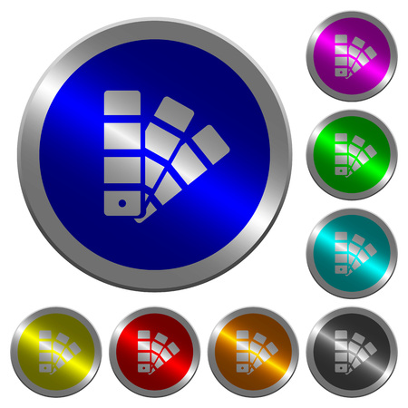 Color swatch icons on round luminous coin-like color steel buttons