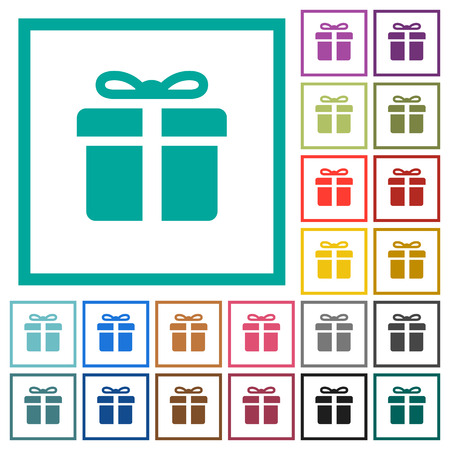Gift box flat color icons with quadrant frames on white background  イラスト・ベクター素材