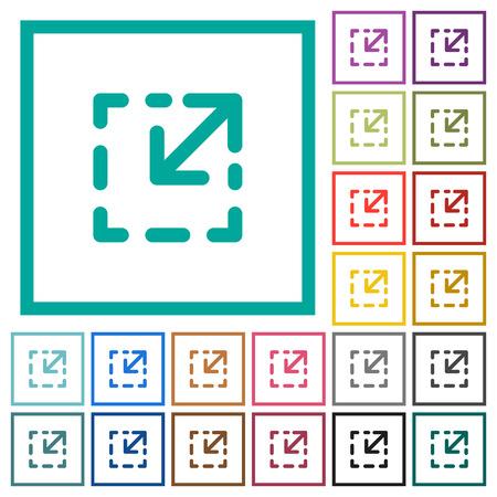 Resize element flat color icons with quadrant frames on white background Ilustração