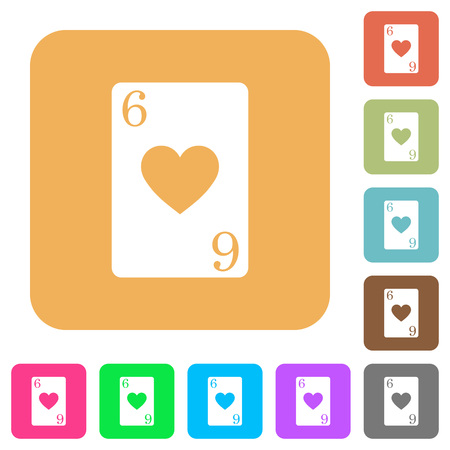 Six of hearts card flat icons on rounded square vivid color backgrounds.