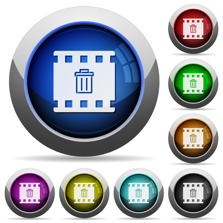 Delete movie icons in round glossy buttons with steel frames