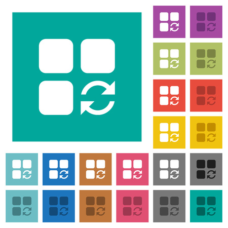 Refresh component multi colored flat icons on plain square backgrounds. Included white and darker icon variations for hover or active effects.