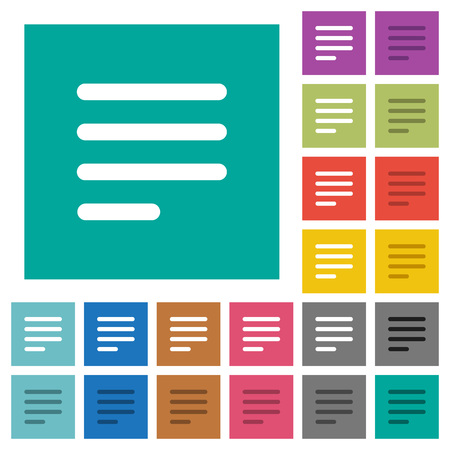 Text align justify last row left multi colored flat icons on plain square backgrounds. Included white and darker icon variations for hover or active effects. Illustration