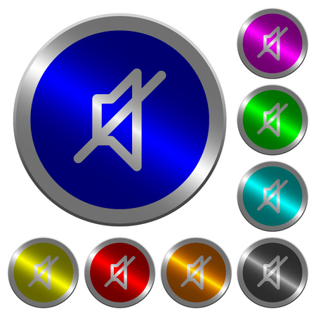 Mute color icons on round luminous coin-like color steel buttons Illustration