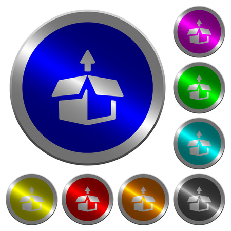 Unpack icons on round luminous coin-like color steel buttons Illustration