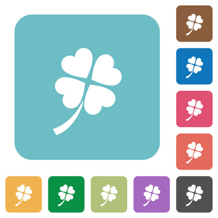 Four leaf clover white flat icons on color rounded square backgrounds