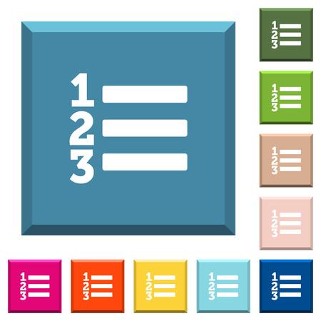 Lista ordenada de iconos blancos en botones cuadrados con bordes en varios colores de moda