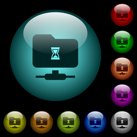 FTP busy icons in color illuminated spherical glass buttons on black background. Can be used to black or dark templates