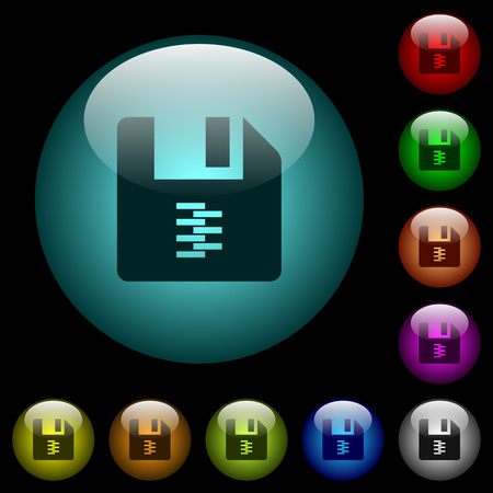 zip archive file icons in color illuminated spherical glass buttons on black background. Can be used to black or dark templates