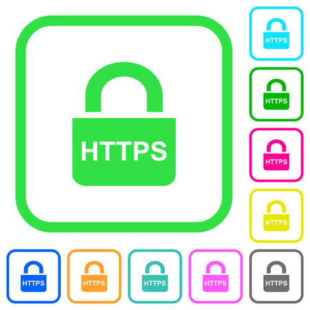 Secure http protocol vivid colored flat icons in curved borders on white background