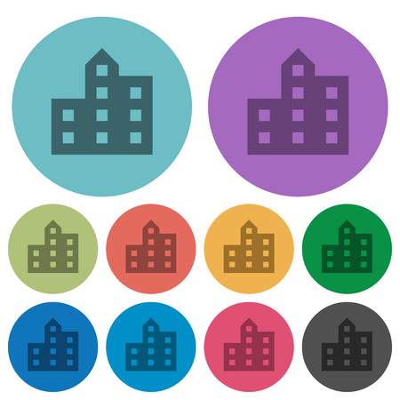 City silhouette darker flat icons on color round background