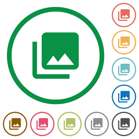Photo library flat color icons in round outlines on white background