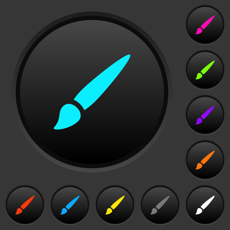 Brush dark push buttons with vivid color icons on dark grey background