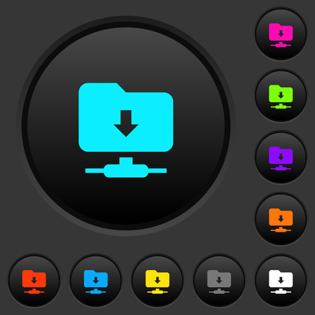 FTP navigate down dark push buttons with vivid color icons on dark grey background