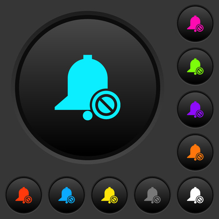 Disable reminder dark push buttons with vivid color icons on dark grey background Vectores