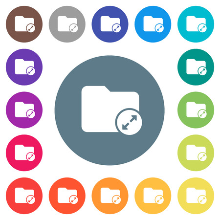 Uncompress directory flat white icons on round color backgrounds. 17 background color variations are included.