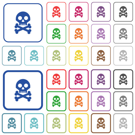 Skull with bones color flat icons in rounded square frames. Thin and thick versions included. Ilustracja