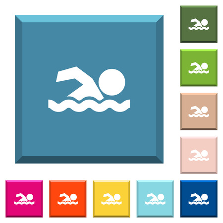Swimming man white icons on edged square buttons in various trendy colors