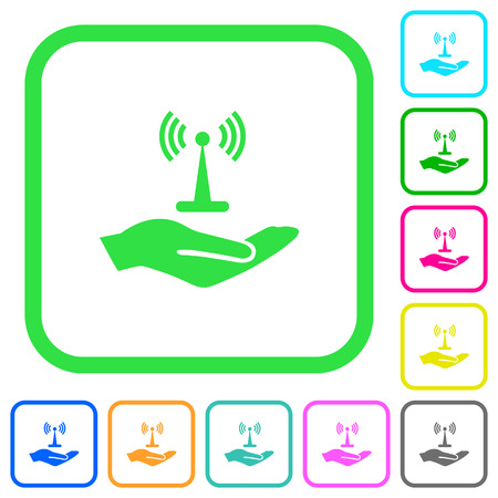 Sharing wireless network vivid colored flat icons in curved borders on white background