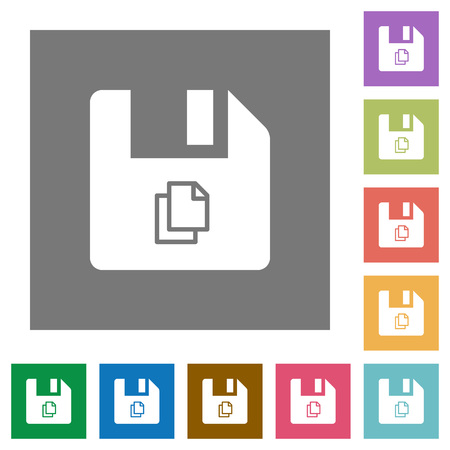 Copy file flat icons on simple color square backgrounds