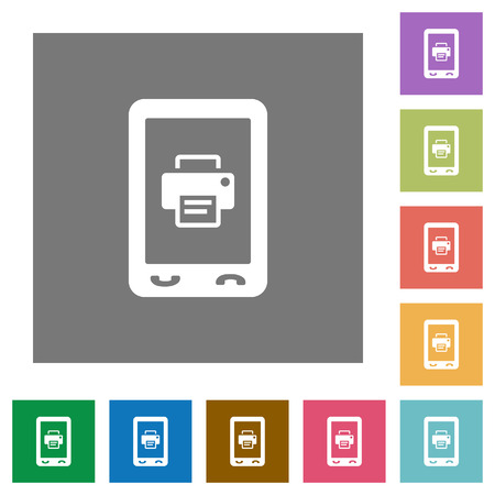 Mobile printing flat icons on simple color square backgrounds