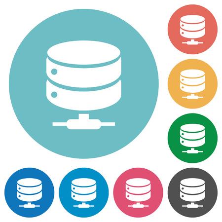 Network database flat white icons on round color backgrounds Illustration